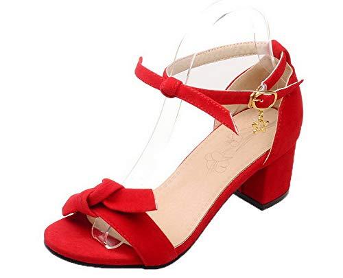 Kitten Open Frosted VogueZone009 Buckle Heels Toe Red CCALP014928 Women Solid Sandals wOxYnP7AqC