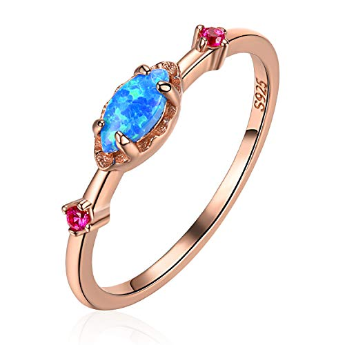 EVBEA Silver Rings Blue Opal Rose Gold CZ Wedding Band Engagement Sterling...