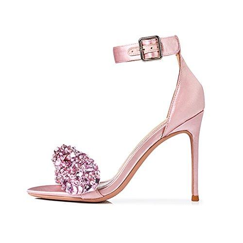 De Zapatos Hebilla Sandalias Femeninas Con Pink 8cm Diamantes Alto Imitación Tacón pqx7YYtw