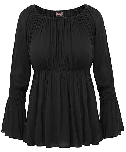 SCARLET DARKNESS Women Black Renaissance Peasant Maiden Boho Blouse Long Sleeve SL44-1 S Black