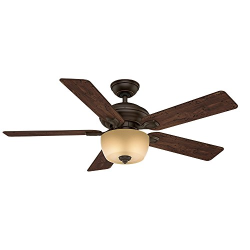(Casablanca 54039 Utopian Gallery 52-Inch 5-Blade Single Light ETL Rated Ceiling Fan, Brushed Cocoa with Antique Halifax Blades and Tea Stain Glass Bowl)