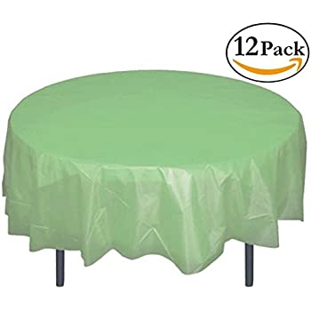 12 Pack Premium Plastic Tablecloth 84in. Round Table Cover   Light Mint