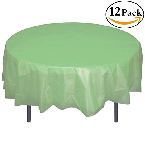 12-Pack Premium Plastic Tablecloth 84in. Round Table Cover - Light Mint