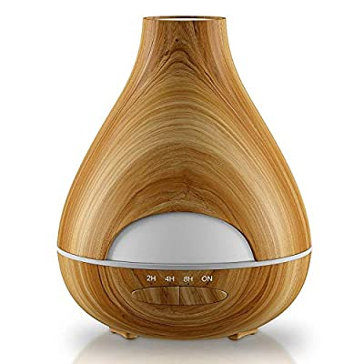 Aroma Essential Oil Diffuser New Model No Condensation with Waterless Auto Shut-off - Aromatherapy Ultrasonic Wood Grain Burner 530 Ml - 16 h - Air Humidifier for Home, Office, Spa