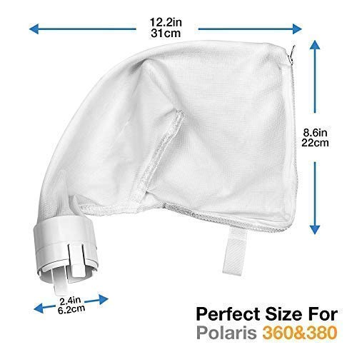 UNC7E All Purpose Polaris Bags(2 Pack) for Polaris 360, 380 Pool Cleaner,Zipper Bag Replacement for Polaris Pool Cleaner Parts