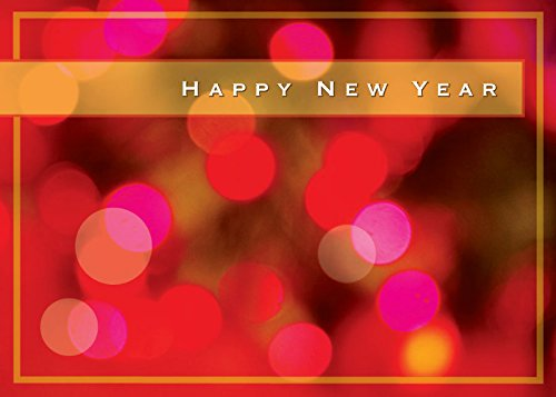 New Year Greeting Cards - N8004. Business Greeting Card with Happy New Year on a Bright Lights Background. Box Set has 25 Greeting Cards and 26 White with Gold Foil Lined Envelopes.