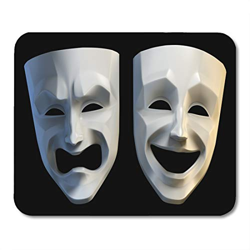 Boszina Mouse Pads Theatrical Drama Tragicomic Theater Masks Tragedy and Comedy Grotesque 3D Rendered Black Face Comedian Mouse Pad for notebooks,Desktop Computers mats 9.5