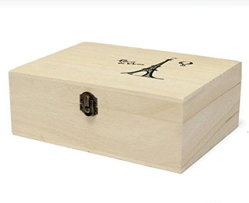 Price comparison product image Storage Box Natural Wooden With Lid Golden Lock Home Organizer Handmade