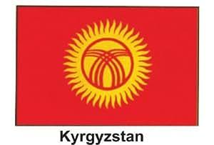 """Producto nuevo 4""""x 6"""" MUNDO Stick bandera de una docena–Kirguistán"""
