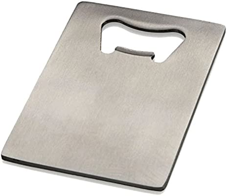 Silver generic Stainless Steel Credit Card Poker Bottle Opener for Your Wallet
