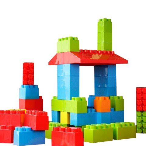 (MassBricks Jumbo Plastic Building Blocks - 86 Pieces Giant Toddler Bricks - Kids, Boys, Girls Age 1 - 8 Play Large Educational, Construction, Stacking Toys - BPA Free - Storage bin for Toys (1 Pack))
