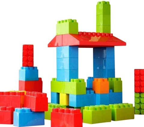 MassBricks Jumbo Plastic Building Blocks - 86 Pieces Giant Toddler Bricks - Kids, Boys, Girls Age 1 - 8 Play Large Educational, Construction, Stacking Toys - BPA Free - Storage bin for Toys (4 Packs)