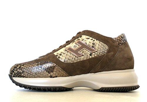 Chaussures Interactives Hogan Pour Femmes H Flock Hxw00n02582dwy0xdf Marron Python Print 36.5