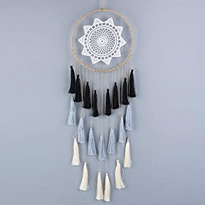 aiPao Dream Catcher - 21inch Long Tassel Dream Catcher - Handmade Dream Catchers Wall Hanging Ornament Home Decor (Mix Black) - Unique Material: Colorful Tassel, metal circle, hemp rope and petal. Our material fine workmanship and all are processed and screened Dimension: Total length is 21 inch, 8 inch and 0.14 lb are respectively iron circle diameter and dream catcher weight Great gift: With beautiful legend dream catcher is perfect as a gift bring best wishes for friends, lover, family - living-room-decor, living-room, home-decor - 41CwzOdkiVL. SS400  -