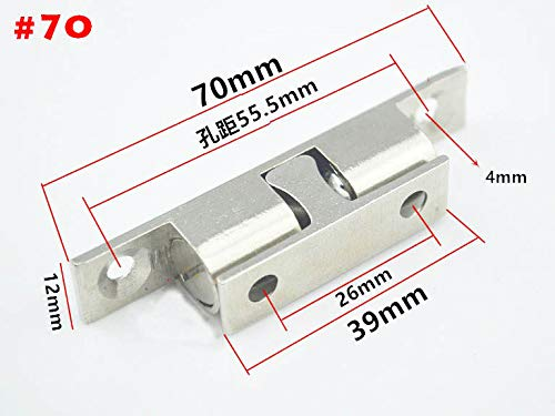 5pcs Door Holder Catch 70mm Length Zinc Alloy Door Stopper Double Ball Latch Silver Tone for Cabinet Door by Kasuki (Image #2)