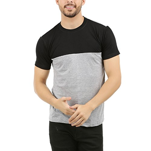 THE ARCHER Men's Round Neck Black Grey T Shirt