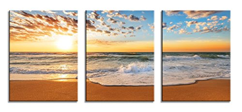 HLJ Art 3 panels Modern Sunrise Sunset And Beach With Sea Wave Painting The Picture Print On Canvas Seascape Pictures For Home Decor Decoration Gift piece (Beach Framed Poster)