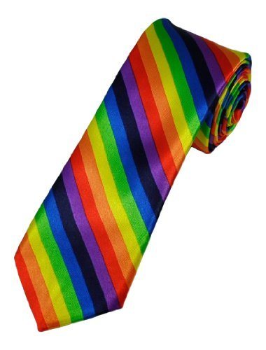 Mens Rainbow Novelty Skinny Tie One (Novelty Mens Tie Clothing)