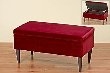 Immo Sitzbank Ziena In Rot Samt 80x41cm Mit Stauraum Bank Amazon De