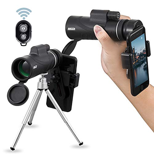 Monocular Telescopes - 12X50 Monocular Telescope HD Waterproof Shockproof Telescope with Smartphone Mount & Tripod for Camping Bird Watching Travel Hunting Football Match Concert Live