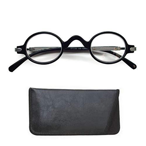Boomer Eyeware Stylish The Professor Vintage Designer Round Reading Glasses for Men & Women, 1.25, Black (Eyeglasses Flesh Frames)