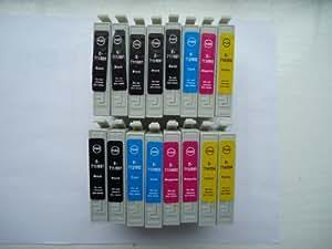 16x EPSON COMPATIBALE Cartuchos de Tinta (3 Set CompletoS PLUS 4 EXTRA Negro) sustituye 7X T0711 Negro 3X T0712 Cian 3X T0713 MAGENTA 3X T0714 Amarillo suministrado por thTintaTintas