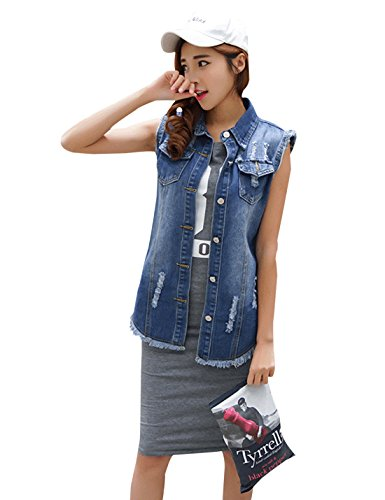 Tanming Women's Sleeveless Button Down Ripped Denim Jean Vest Waistcoat (X-Large, Blue)