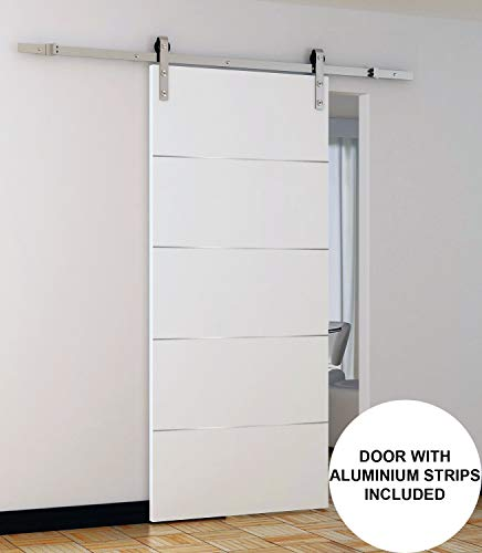 Panel Eco-Veneer White Slab 32x80 | Planum 0020 Matte White | Use as Pocket Sliding Closet Door | Solid Core Stripes Modern Door
