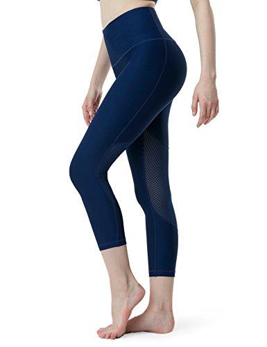 TSLA Yoga 21 inches Capri ATY High-Rise Tummy Control w Pockets, Yogabasic Thick Mesh(fyc36) - Navy, X-Small (Size 4-6_Hip35-37 Inch)