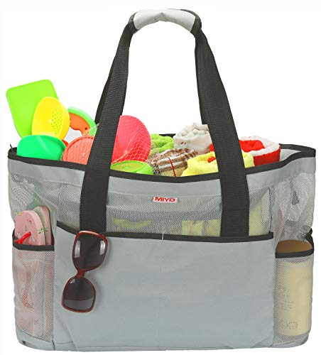 extra Bag Beach Grey Large Bags Tote Mesh Grocery Picnic amp; Travel gaPSW