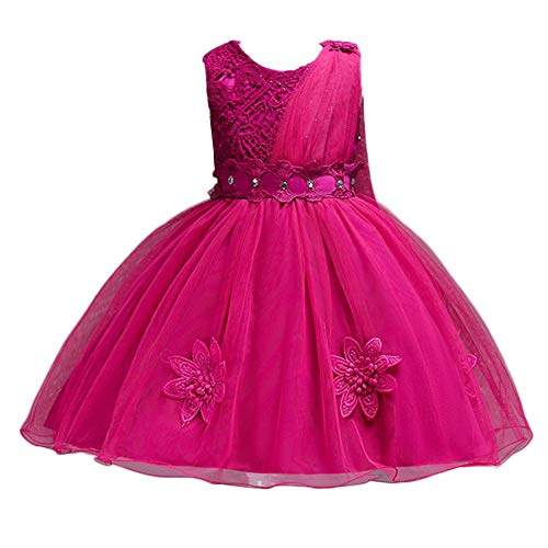 ❤️ Mealeaf ❤️ Kids Flowers Girl Princess Bridesmaid Pageant Gown Lace Appliques Birthday Party Wedding Dress 2-8Years Hot Pink