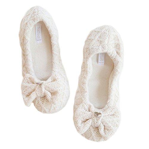 Fortuning's JDS Delle ragazze delle donne del maglieria delle signore Accogliente Casa Calzature arco solido di colore beige confortevole avvolgere Flatform pantofole