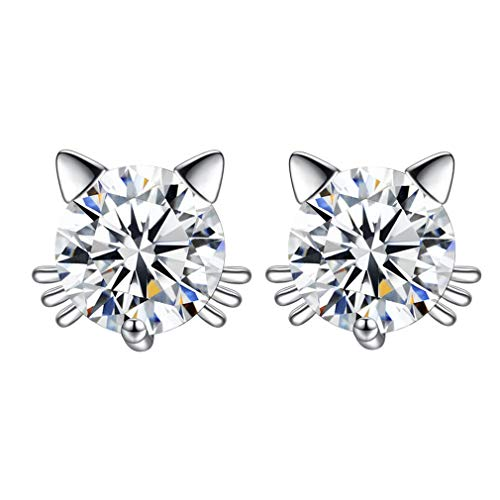 (925 Sterling Silver imitation Diamond Crystal Inlaid Cat Stud Earrings (White))