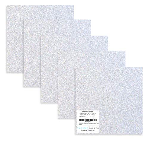 Holographic Silver Glitter Vinyl, 12
