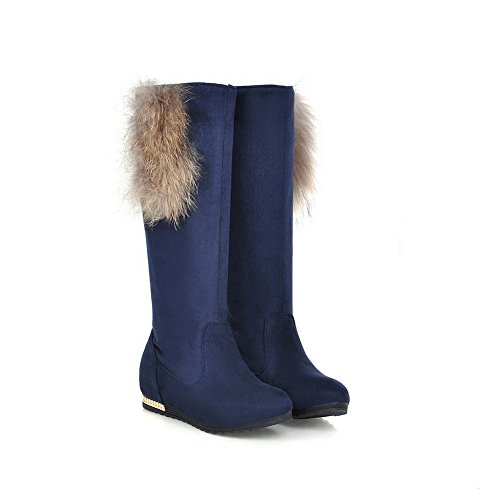 1TO9 Womens Pull-On Boots Solid Fabric Boots Blue HOrRt