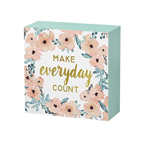 - SANY DAYO HOME 6 x 6 inches Colorful Wooden Box Sign with Inspirational Saying for Home and Office Decor - Make Every Day Count