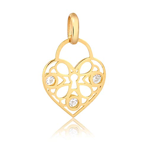 Carol Jewelry 14k Solid Yellow Gold Heart Padlock Shaped with Synthetic White Cubic Zircon Pendant for Necklace for Women, Girls, and Teens