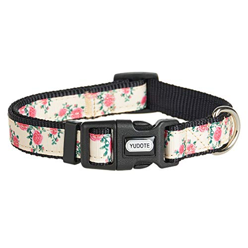 (Pinqi Nylon Dog Collar Spring Scent Fresh Flower Pattern Printing on Premium Ribbon,Adjustable and Duralble Collar for Puppies or Heavy Duty Dogs,Rose)
