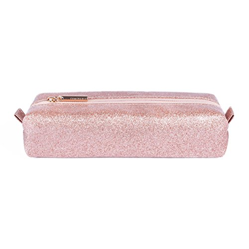 Comfyable Small Makeup Brush Bag for Purse, Cute Mini Cosmetic Case, Glitter Pencil Case, Rose Gold Sparkly Pink