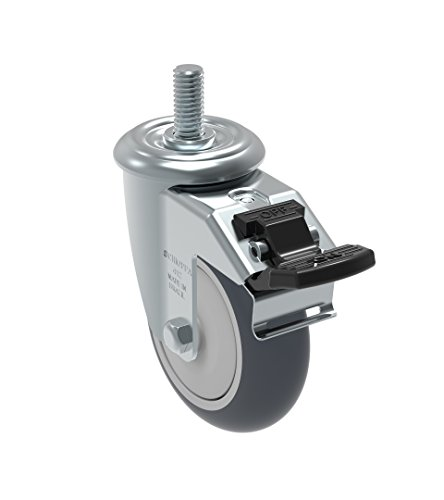 Schioppa GLEEF 412 TBE G L12 Series 4'' x 1-1/4'' Diameter Swivel Caster with Total Lock Brake, Non-Marking Thermoplastic Rubber Precision Ball Bearing Wheel, 3/8'' Diameter x 1-1/2'' Length Threaded Stem, 220 lb by Schioppa