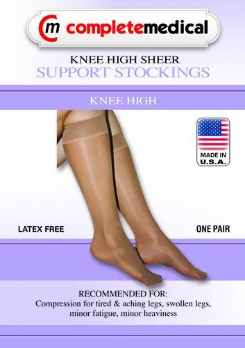 Ladies' Sheer Mild Support Sm 15-20mmHg Knee Hi CT Black by Zenith Medical Supplies