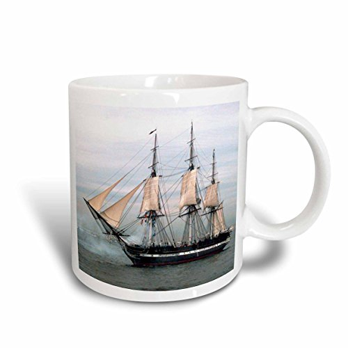 3dRose USS Navy Constitution Ship Ceramic Mug, 15-Ounce ()
