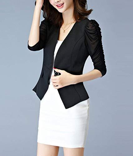 Da Manica Primaverile Business Donna Corto Autunno Prodotto Plus Giacca Fit Blazer Outerwear Cappotto Lunga Ufficio Schwarz Tailleur Casuali Slim OnpnfX