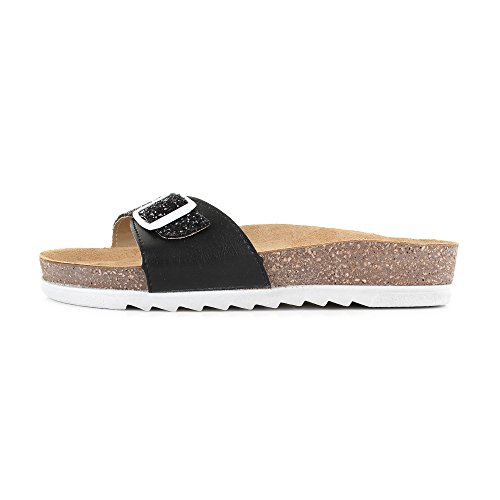 Womens NS1 Slip On Glitter Single Strap Flat Mule Sandals Black qcV93s