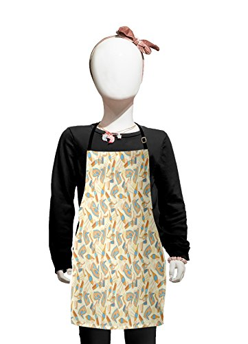 Lunarable Egyptian Kids Apron, Doodle Mythological Symbols Stylized Pharaoh and Eyes on Dotted Silhouette Pattern, Boys Girls Apron Bib with Adjustable Ties for Cooking Baking and Painting, Multicolor -