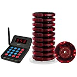Retekess T119 Restaurant Pager System Rechargeable Wireless Paging System with 10 Coaster Pagers and 1 Numeric Keypad Transmitter for Restaurant Clinic Church Cafe Shop