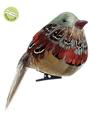 Allstate 4 Natures Glow Feathered Natural Toned Song Bird Clip-On Christmas Ornament