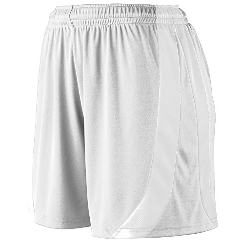 Augusta Sportswear Girls' TRIUMPH SHORT S White/White - Double Knit Polyester Softball Shorts