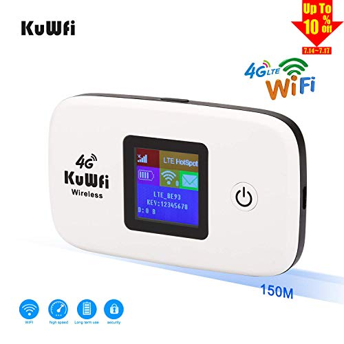 KuWFi US Version 4G LTE Router, Unlocked Travel Partner 4G LTE Wireless 4G Router with SIM Card Slot Support LTE FDD B2/B4 /B5 Work with AT&T T Moblie Verizon Cricket Wireless sim Card forUSA/CA/MX