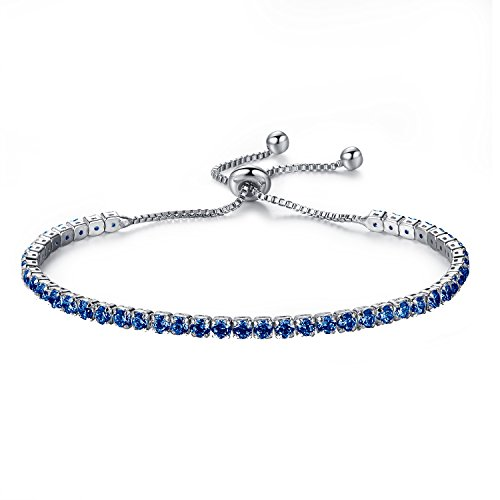 MONIYA Adjustable Women Cubic Zirconia Tennis Bracelet Wedding Engagement Simulated Birthstone ()